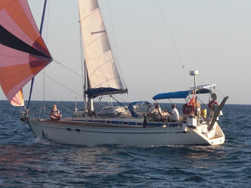 RYA sail training yacht with spinnaker