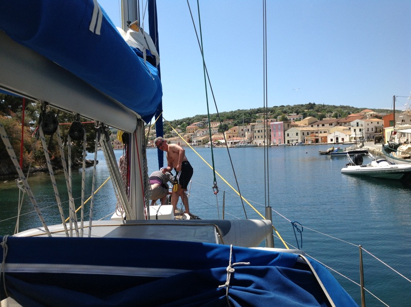 Sailing boat entering Gaios, Paxos, Greece