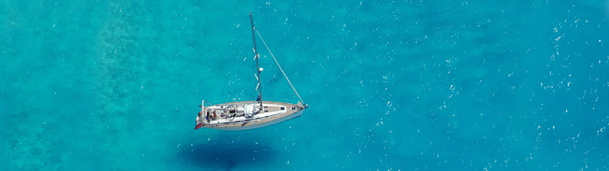 RYA course Greece - Anchored in clear waters