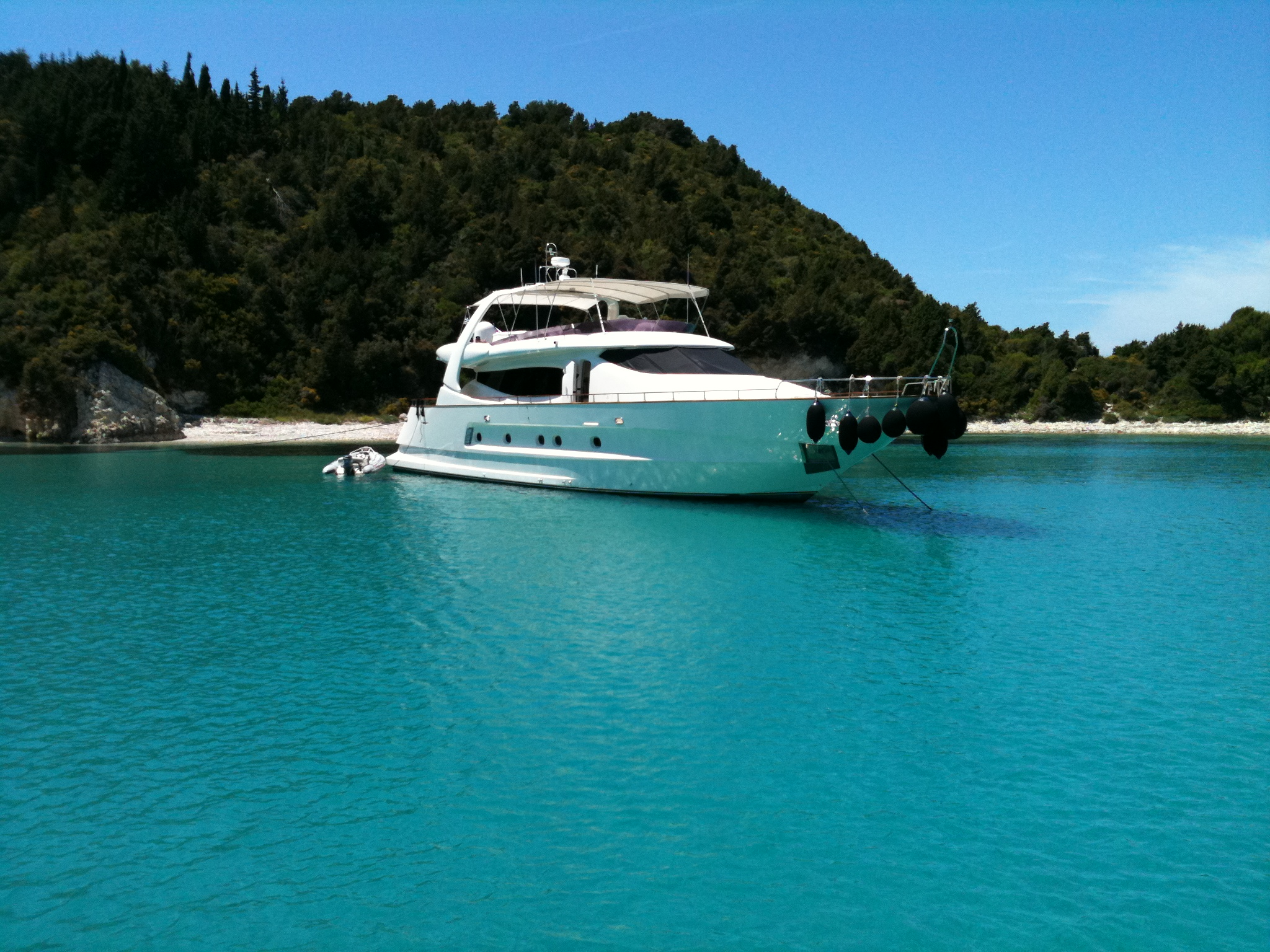 RYA anchored in bay in Greece